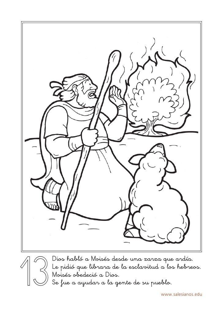 13 Dios Hablo A Moises Desde Una Zarza Que Ardia Le Pidio Que Librara Historias De La Biblia Para Ninos Biblia Para Ninos Moises Biblia
