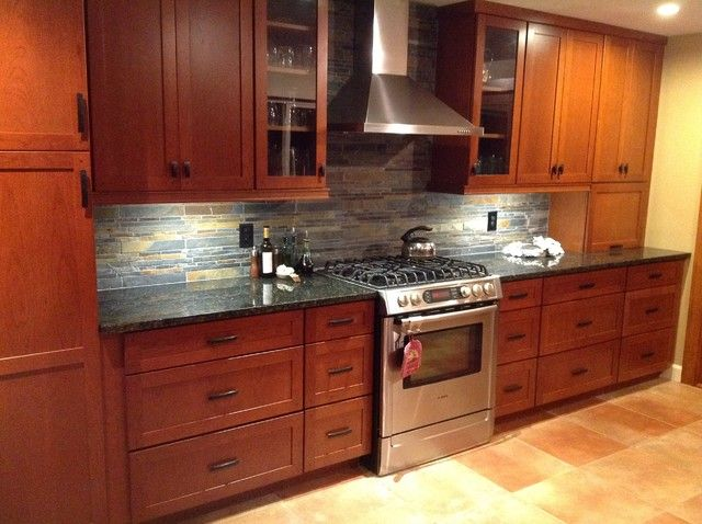 Kitchen Remodel Cherry Cabinets Slate Backsplash Ubatuba Granite Cherry Cabinets With Granite