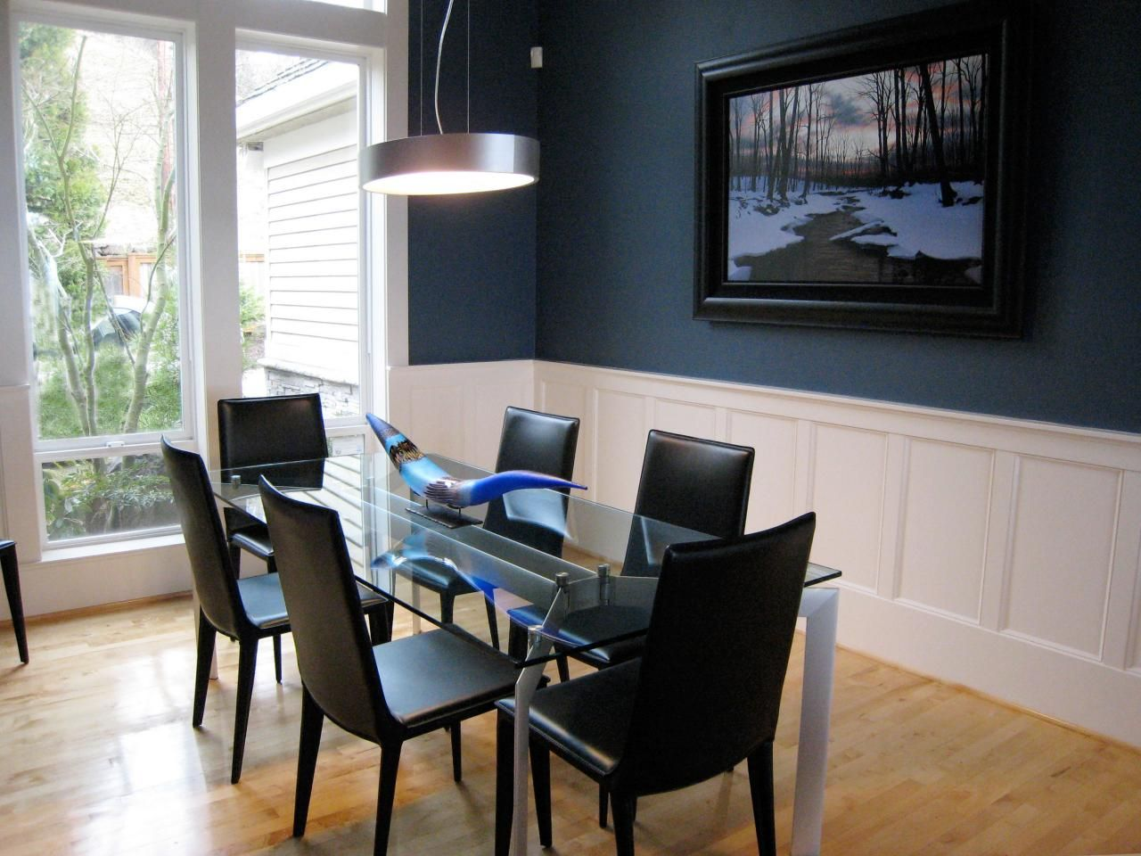 Dining Room Idea Really Love This Navy Wall Color Need For Our MB Which Will Be Sliver Gray And With Orange Accents Black Hi Gloss
