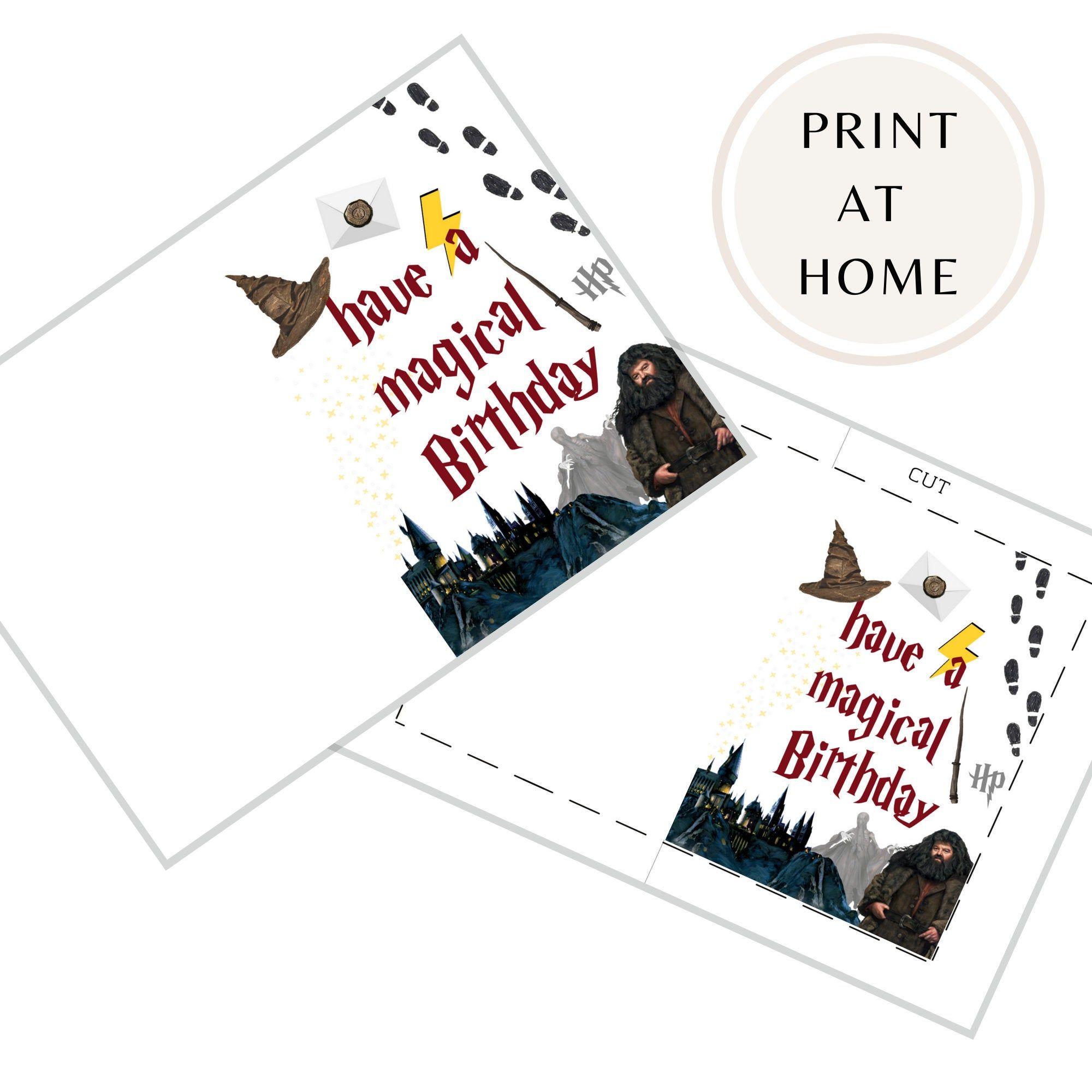 Printable Harry Potter Birthday Card Magical Birthday Card Etsy Harry Potter Birthday Cards Harry Potter Birthday Invitations Harry Potter Cards