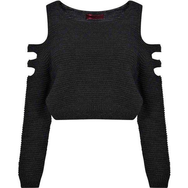 4cf770b23405f8 Boohoo Maria Cut Out Shoulder Rib Knit Jumper ( 16) ❤ liked on Polyvore