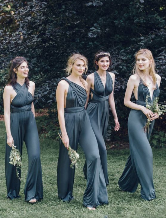 Simple Jumpsuits Bridesmaid Dress Convertible Rompers for Wedding from SheDress