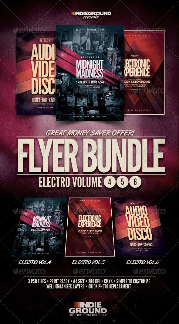 Electro FlyerPoster Bundle Vol   Electro Music Print