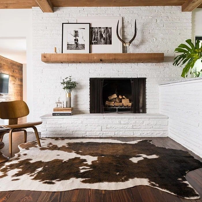 Love The Painted Brick Fireplace, Cowhide, Wood Mantel And
