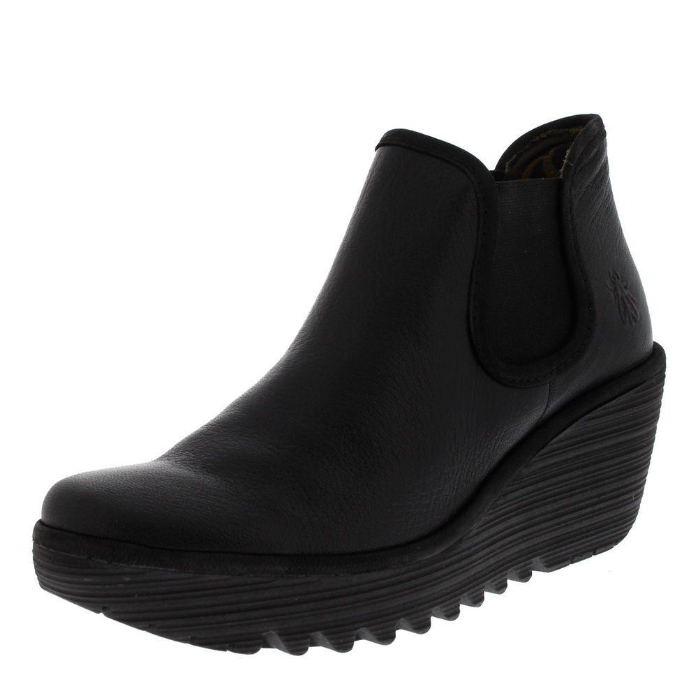 Womens Fly London Yat Mousse Leather Black Wedge Heel Platform Ankle