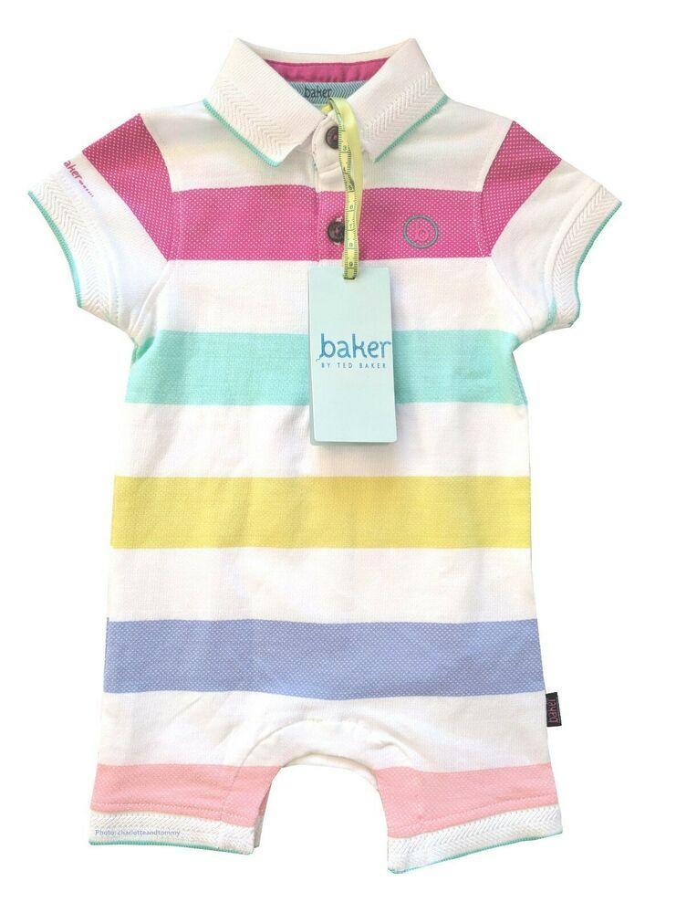 b26b3d3c5776d7 Ted Baker Baby Boy Polo Romper Sleepsuit Rainbow Striped Newborn Gift 0-3  Months