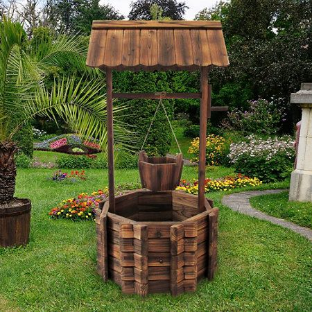 Add This Lovely Wood Wishing Well Planter To Your Garden Or Yard For  Timeless Charm And A Useful Planter.