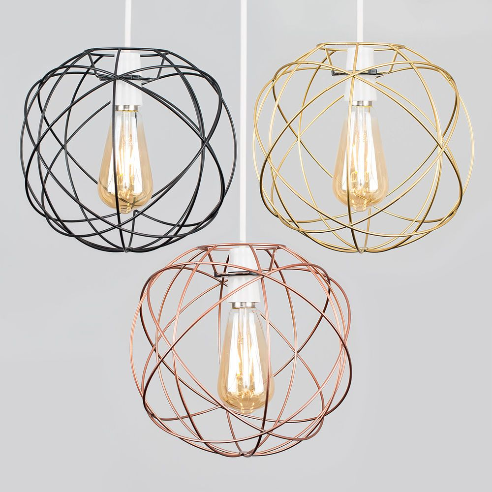 Geometric Sphere Led Ceiling Pendant Light Shades Black Copper Gold Lampshade Ebay Bedroom Ceiling Light Ceiling Lamp Shades Ceiling Pendant Lights