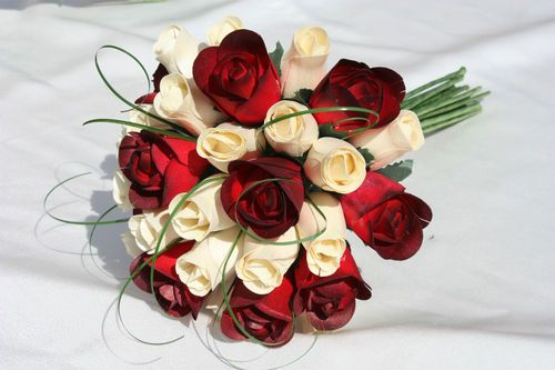 Wooden Roses Wedding Bouquets Flowers Brides Bridesmaids Cream Red Gift Ebay