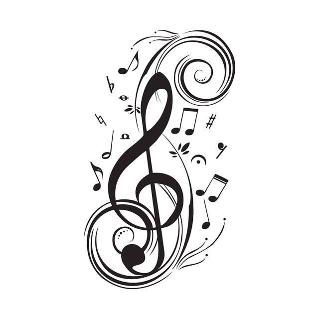 Essi hanno un'ottima resistenza nel tempo grazie ad un vinile opaco di alta qualità. Violinschlussel Wandsticker Musiker Note Musicali Tatuaggi Musica Simboli Musicali