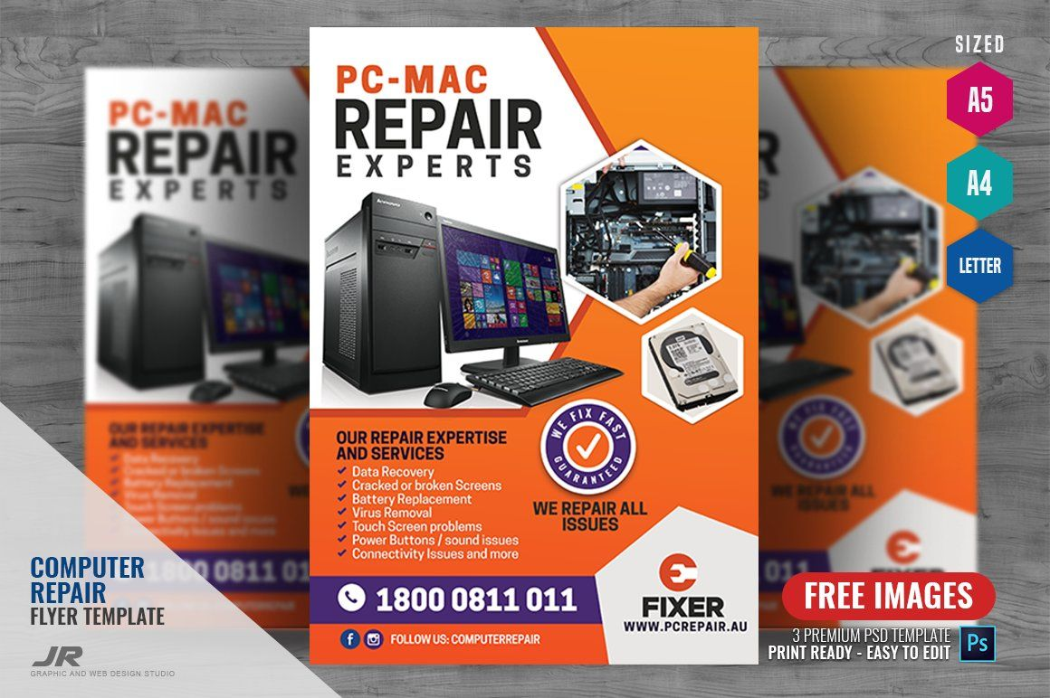 Computer Repair Services Flyer By Psdpixel On Creativemarket Computer Repair Services Computer Repair Computer Free computer repair flyer template