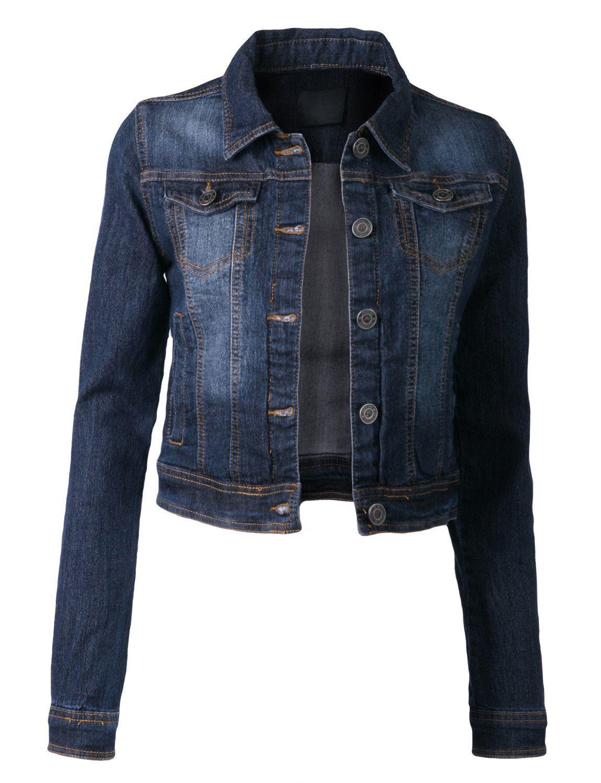 9a90a6fd8779b LE3NO Womens Denim Jacket with Pocket