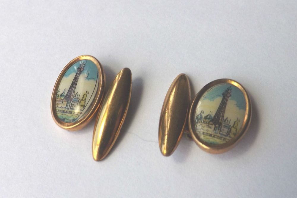 Vintage CHAINLINK CUFFLINKS  Oval Gold Tone Blackpool Tower Design  FREE P&P