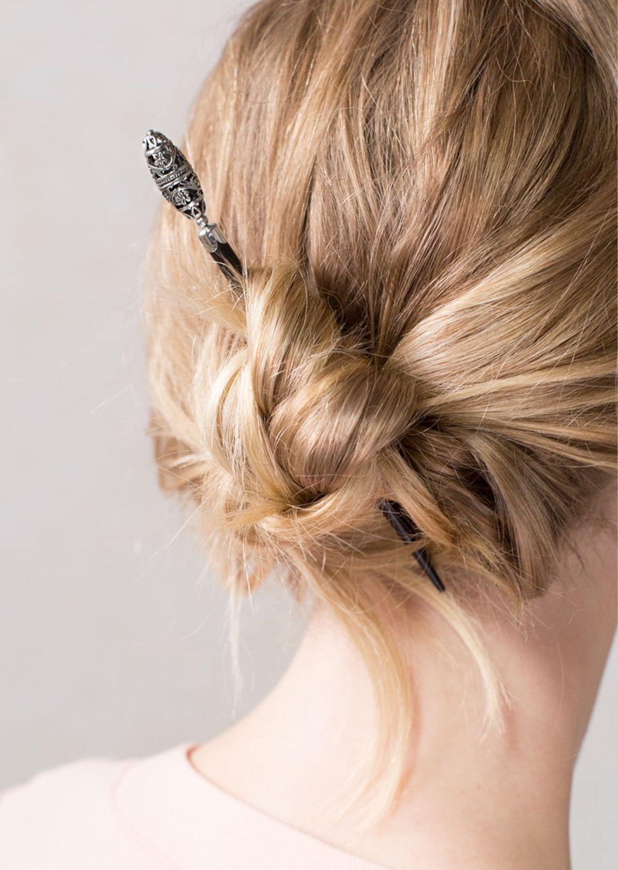Simple knot www.lillarose.biz/abbielee #hair #hairstick   Rose hair, Hair hacks, Easy hairstyles