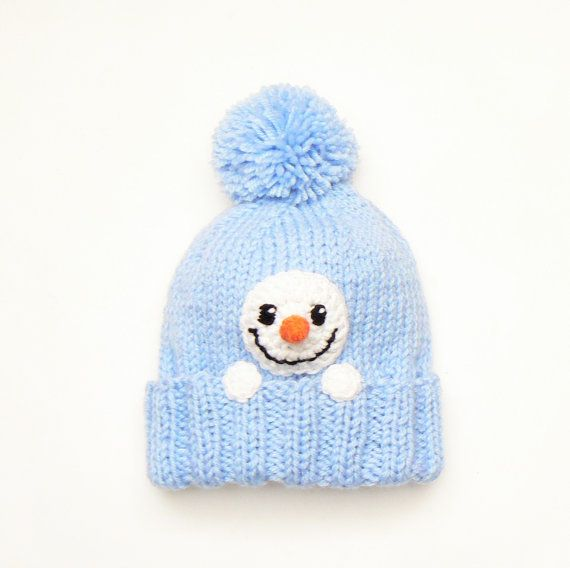 Snowman Hat, Kids Winter Hat, Knit Hat, Pom Pom Hat, Infant Snowman ...