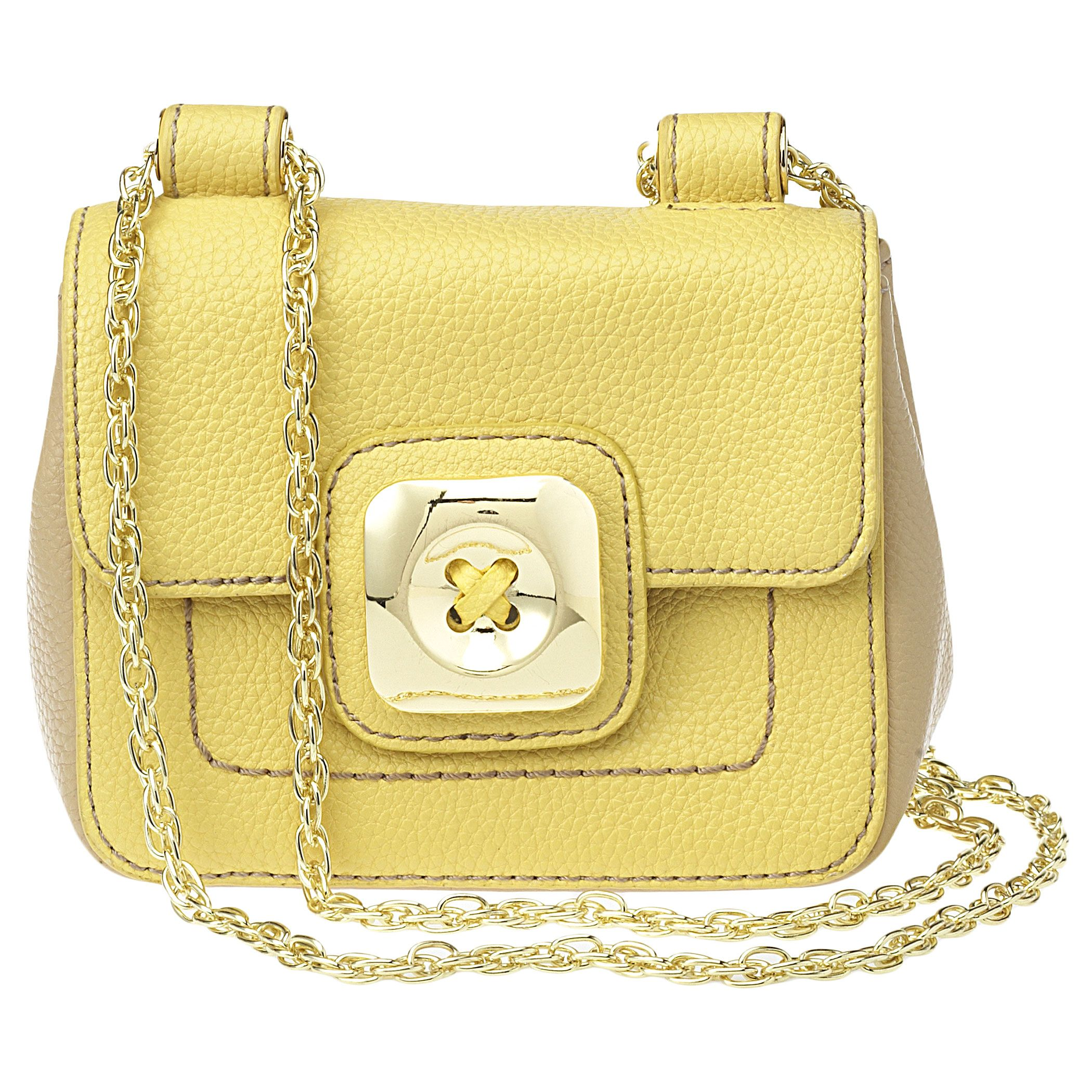 """Mini cross-body bag with metal hardware. The chain strap can be worn cross-body or doubled up for a shorter over the shoulder look. Inside features a slip pocket. Measures approx 6"""" L x 4 1/2"""" H x 2"""" D. Strap drop fully extended is 23"""", doubled strap drop is 13""""."""