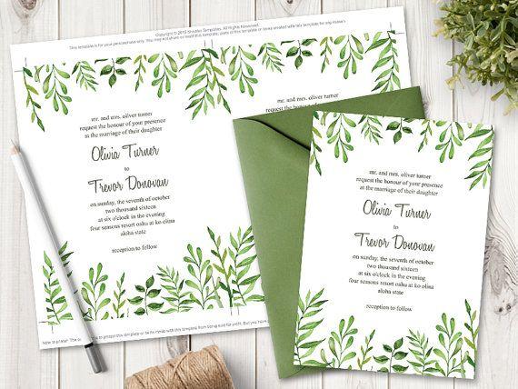 Watercolor Wedding Invitation Template  - editable leaf template