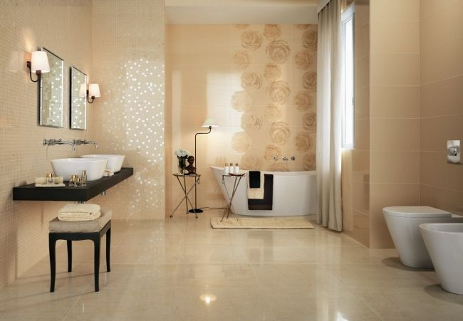 badezimmer fliesen atlas concorde beige mosaik rosen glasiert - Badfliesen Beige