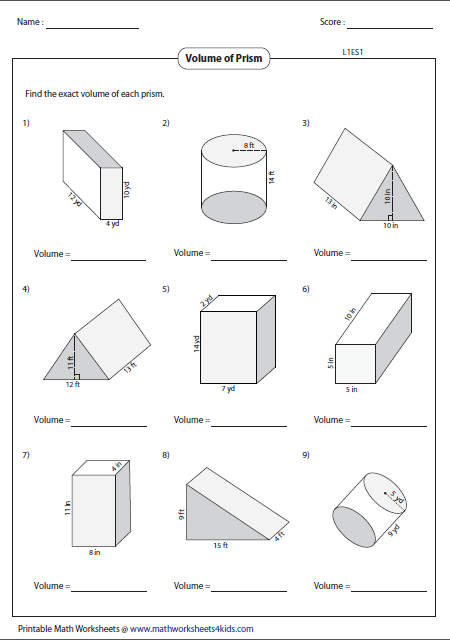 volume of prisms geometry worksheets pinterest math geometry worksheets and math hacks. Black Bedroom Furniture Sets. Home Design Ideas