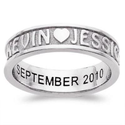 7 5mm Sculpted S Band In Platinum Plated Sterling Silver 2 Names 1 Line