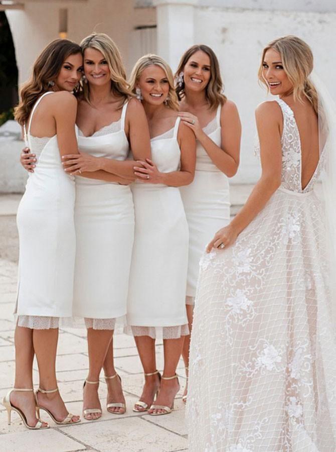 Sheath Scoop Knee Length White Bridesmaid Dress With Lace In 2020 Knee Length Bridesmaid Dresses Lace Bridesmaid Dresses White Bridesmaid Dresses