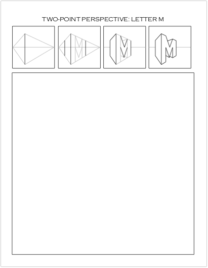 2 Point Perspective Letters : point, perspective, letters, Drawing, Two-Point, Perspective, Worksheet:, Letter, Pedersen,, Artist, Point, Perspective,, Lettering,