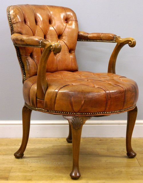 A Queen Anne Style Walnut And Leather Desk Chair Antiques Atlas
