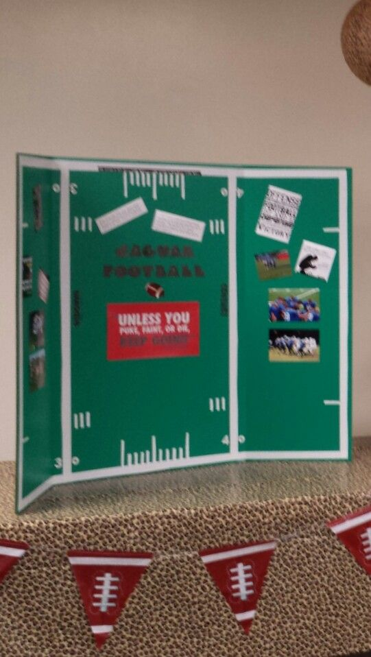 tri fold picture and quote board football celebrations science