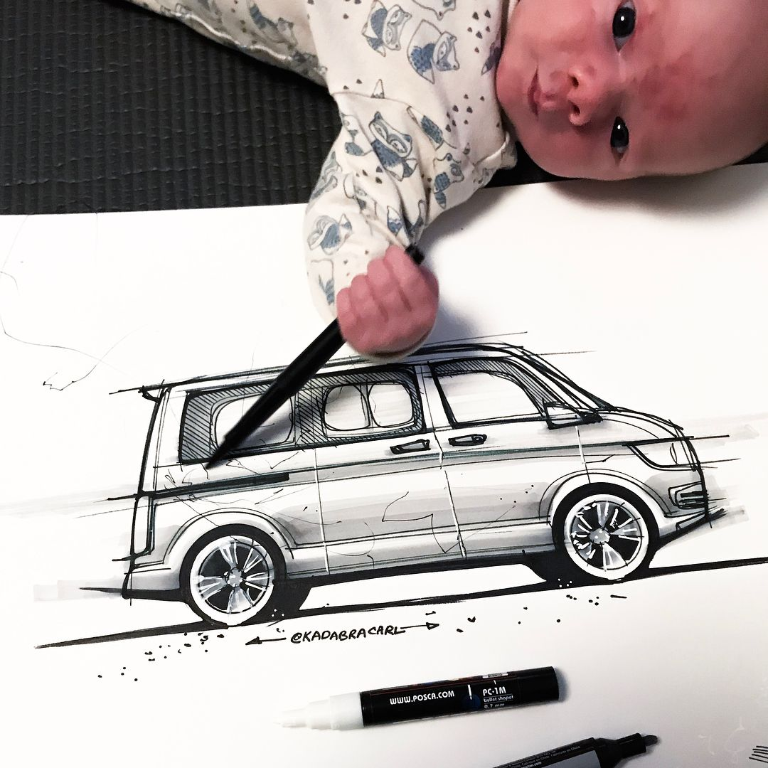 Only 12 days old & still without a name. But drawing a Caravelle no prob 😂  ..  Sketch 97/365   #sketchaday #idsketching #industrialdesign #productdesign #instasketch #branding #startup #inksketch #sharpie #baby #cutebaby #instilldesign #sketchwithandesign #markersketch #cardesign #carsketch #cardesignworld #carconcept #transportationdesign #vanlife #classiccars #retrocar #carporn #automotive #carsofinstagram #cargram #caravelle #vw #vwt5 #vwcalifornia