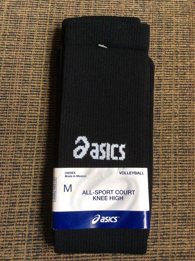 d5dfb072a New Asics Black Volleyball Socks Sz Med All Sport Court Knee High Unisex   ASICS