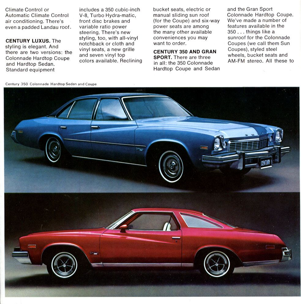 1974 Buick Sales Literature Featuring The Century