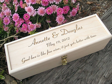 Engraved Wine Box With Padlock Personalized Wood Wedding Or