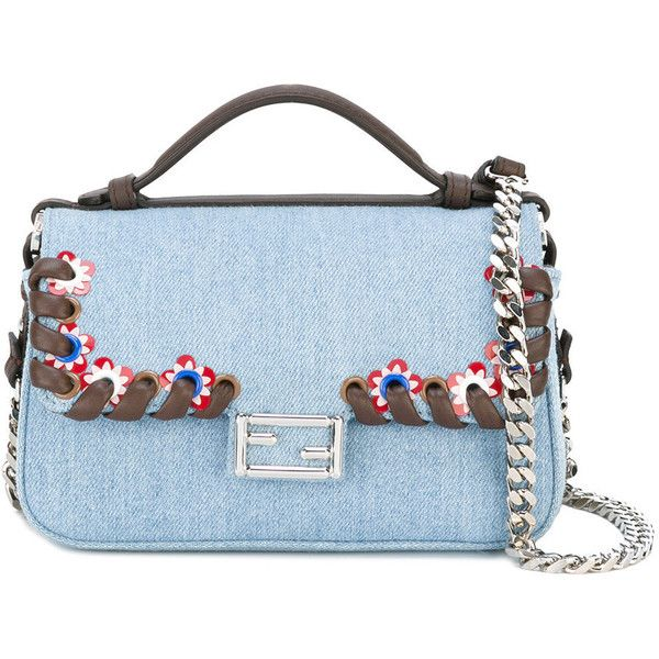 Fendi Mini Baguette Denim Bag (22.525 ARS) ❤ liked on Polyvore featuring bags, handbags, blue, denim purse, embroidered purse, multi color handbag, multi colored purses and denim handbags