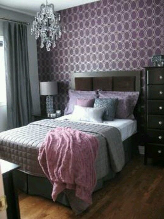 Charming Purple And Grey Bedroom