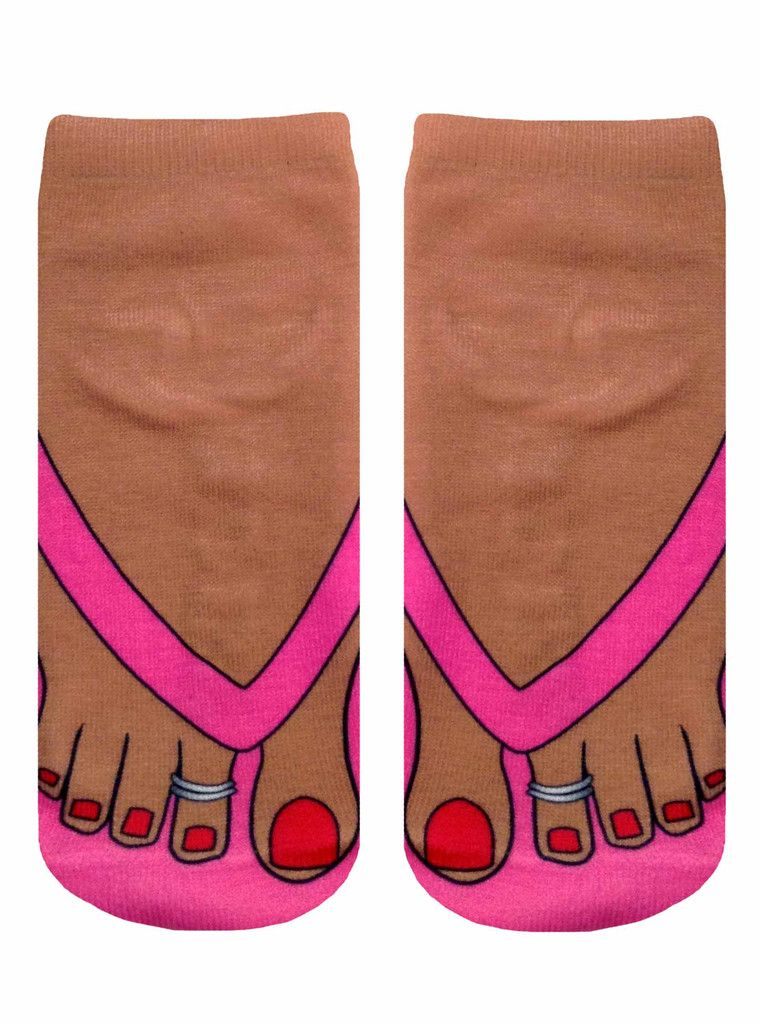Pale Flip Flops Photo Print Ankle Socks