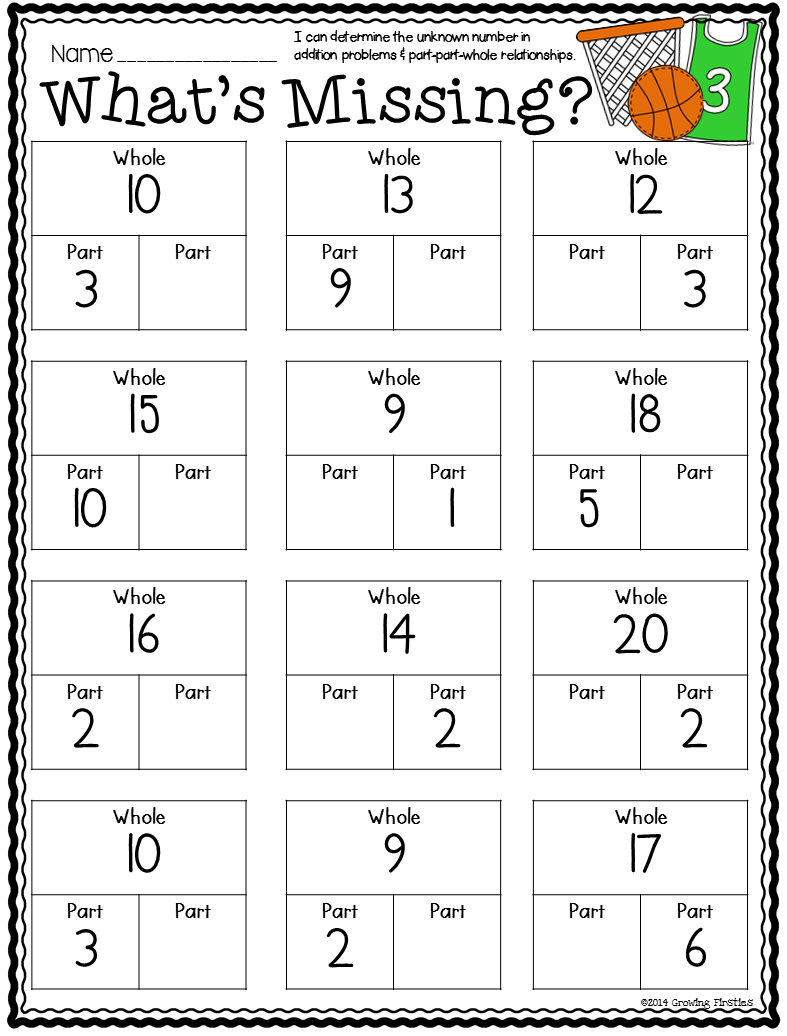 Part Part Whole and March Printables – Common Core Subtraction Worksheets