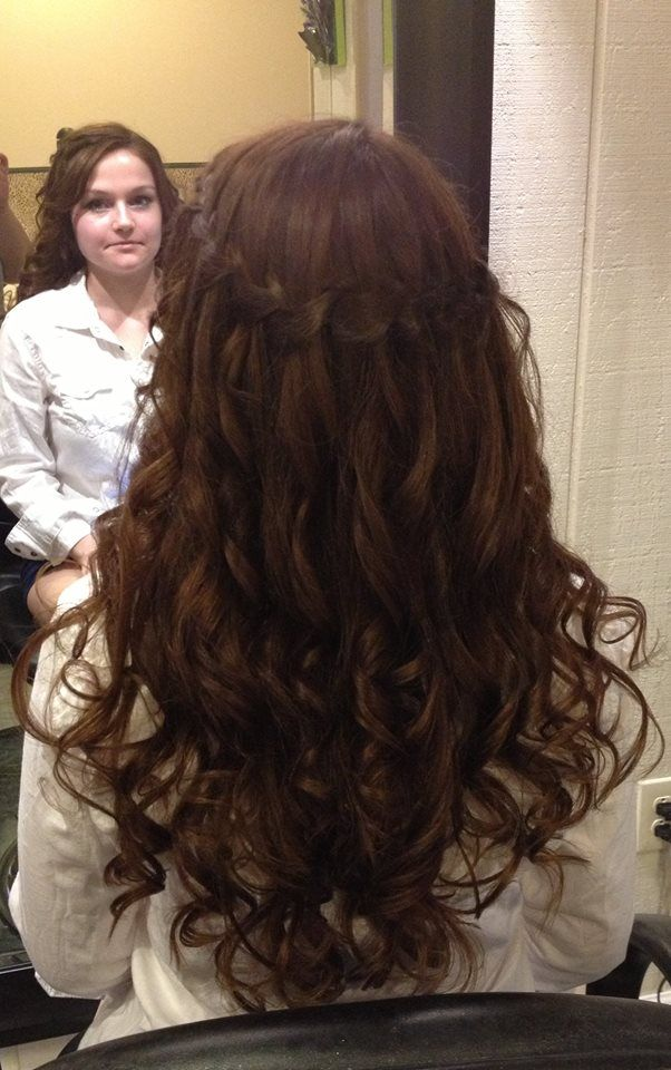 Prom hair, waterfall braid w/ curls (With images) | Prom ...