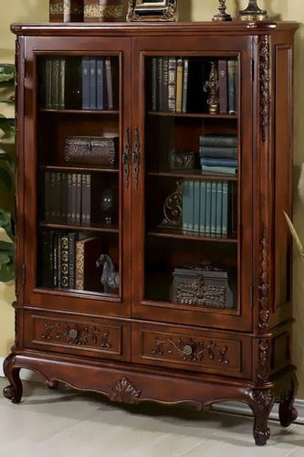 Wonderful Elegant Antique Glass Doors Bookcase Gallery