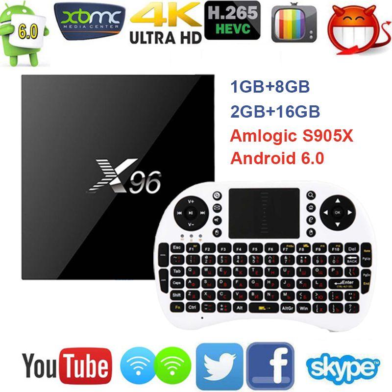 X96 안드로이드 6.0 TV 상자 Amlogic S905X 최대 2 기가바이트 RAM + 16 기가바이트 ROM 쿼드 코어 와이파이 HDMI 4 천개 * 2 천개 HD 스마트 셋톱 박스 미디어 플레이어