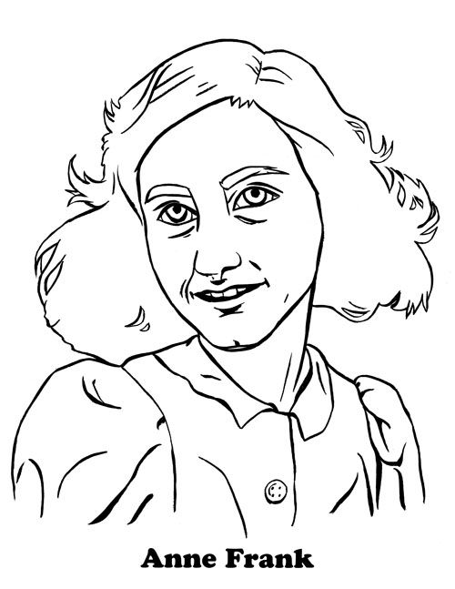 Anne Frank Coloring Page Coloring Pages Pinterest