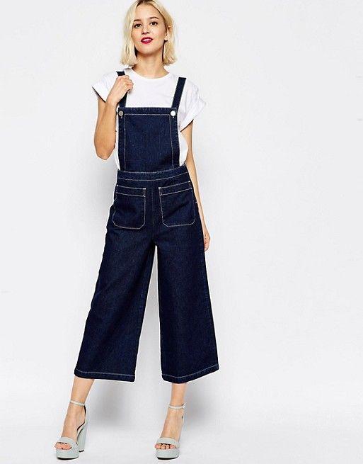 801fb387b4461 Salopette large en jean à surpiqûres contrastantes   Fashion   Denim ...
