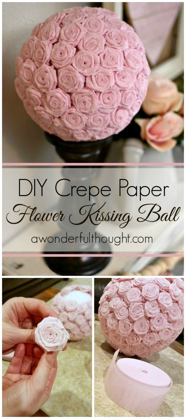 Diy Crepe Paper Flower Kissing Ball Crepe Paper Crepes And Flower