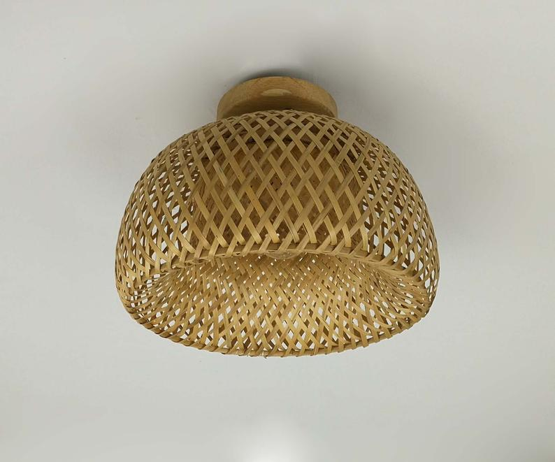 Bamboo Hat Shaped Flush Mount Lighting Fixture Ceiling Lamp Semi