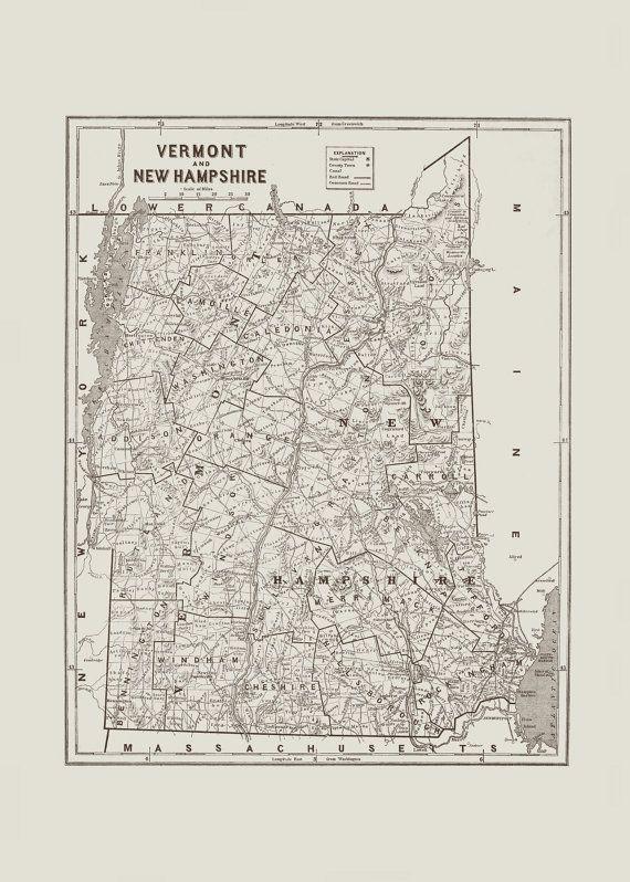 VERMONT NEW HAMPSHIRE Vintage Map Retro Minimalist USA Map