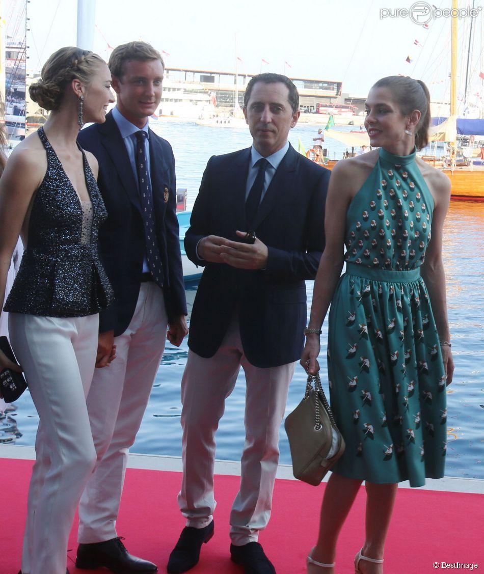 Pierre Casiraghi, sa compagne Beatrice Borromeo, Gad Elmaleh et sa compagne Charlotte Casiraghi lors de l'inauguration du Yacht-Club de Monaco, le 20 juin 2014 au port Hercule de Monaco