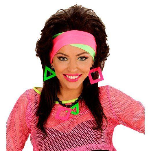 Anni/'80 Donna Costume Costume Neon fluorescenti Gonna Top 1980s ROCK GIRL da discoteca