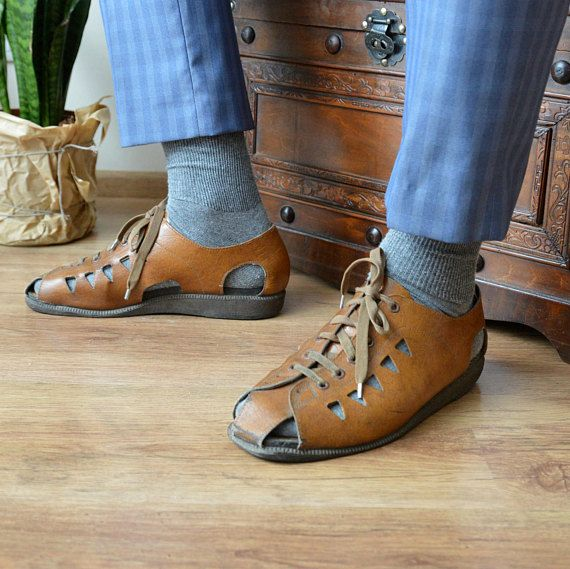 19d62a60a66a Mens Faux Leather Sandals Brown Huaraches Leather Shoes Fisherman Dress Sandals  Mens Size Sandals