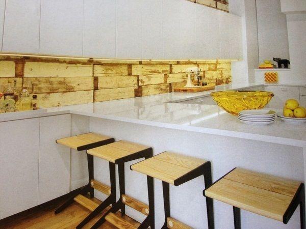 wallpaper wood imitation wood kitchen modern white high gloss yellow ...