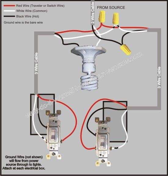 3 Way Switch Wiring Diagram in 2019 | DIY | Home electrical wiring  Way Switch Wiring Diagram on