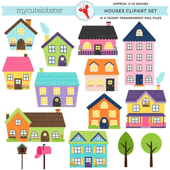 Houses Clipart Set Clip Art Set Of Houses Bright Houses Etsy House Clipart Clip Art Digital Paper